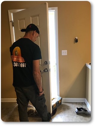 A technician replaces locks